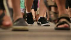 Crowded Feet Les Rambles Boulevard Stock Footage