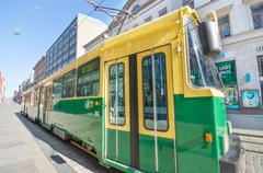 Helsinki, finland- 21 june : helsinki tram public transport Stock Photos