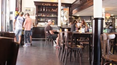Cafe in the Barcelona city center Stock Footage