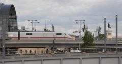 Ultra HD 4K Modern Transportation Train Pass German Railway Intercity Express Stock Footage