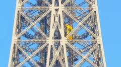 Eiffel tower elevator follow tracking shot Stock Footage