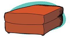 Single red ottoman Stock Illustration