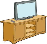 Isolated television on cabinet Stock Illustration