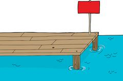 Wooden dock with sign Stock Illustration