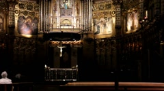 Basilica in monastery Montserrat. Catalonia. Spain. Stock Footage