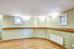 empty dining area in soft mint color. mother-in-law apartment interior - stock photo