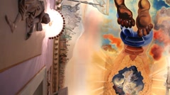 Painted ceiling  in The Teatre Museum of  Salvador Dali Stock Footage