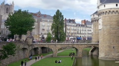 Chateau des ducs de Bretagne - Nantes France Stock Footage