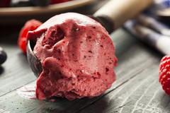 homemade organic berry sorbet ice cream - stock photo