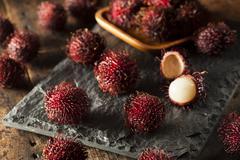 fresh organic tropical rambutan - stock photo