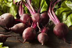 raw organic red beets - stock photo