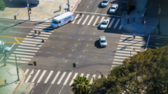 Intersection Timelapse of Traffic and Pedestrians. Overhead perspective Stock Footage