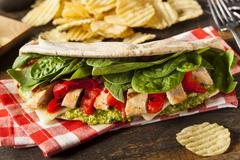 Healthy grilled chicken pesto flatbread Stock Photos