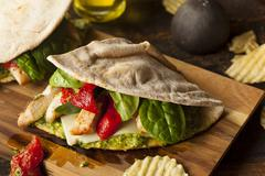 healthy grilled chicken pesto flatbread - stock photo