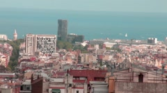 Barcelona Cityscape during dusk  - view from Guell park , Catalonia, Spain Stock Footage