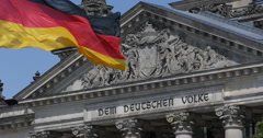 Ultra HD 4K Berlin Capital City Center Parliament Building Front Facade German Stock Footage