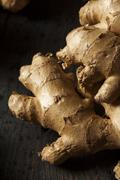 raw organic ginger root - stock photo