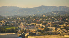 Hollywood Hills and Los Angeles Freeway Rush Hour at Sunset Timelapse Stock Footage
