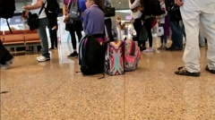 Passengers With Luggage In Barselona Airport. Spain Stock Footage