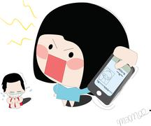 Angry wife with mobile phone Stock Illustration