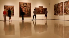 Montjuïc Palace. In one of the halls of the National Art Museum of Catalonia Stock Footage