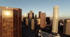Aerial. Wide view of scenery around Downtown. Los Angeles, California - stock footage