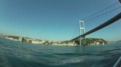 First Bosphorus bridge fisheye shot Stock Footage