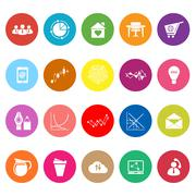 Virtual organization flat icons on white background Stock Illustration