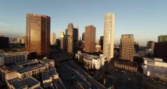 Stock Video Footage of Aerial. Wide view of scenery around Downtown. Los Angeles, California