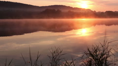 Sunrise on the lake, sunrise over river, morning landscape Stock Footage