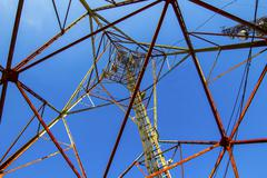 telecommunication mast with microwave link - stock photo