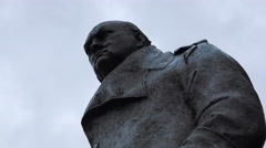 Winston Churchill statue in the city of Westminster - stock footage
