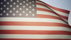 American Flag, waving in the wind. Photo realistic animation. Stock Footage