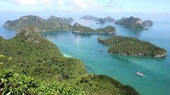 Archipelago, Seascape, Island Chain in National Marine Park Ang Thong Stock Footage