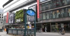 UHD 4K Berlin Busy Shopping Street Symbol Lafayette Galleries Fashion Landmark Stock Footage