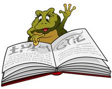 Frog Reading Book - stock illustration