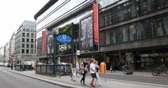 UltraHD 4K People Walking Berlin Shopping Center Busy Street Galeries Lafayette Stock Footage