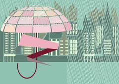 Rain storm street Stock Illustration