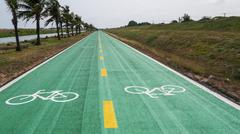 Stock Photo of bike lane color green