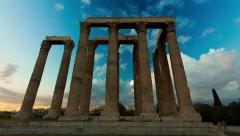 4K Greece motion control sunset timelapse Ancient Temple of Zeus 2 - stock footage