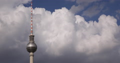 Ultra HD 4K UHD Berlin Radio TV Tower View Modern Spire Germany White Clouds Stock Footage