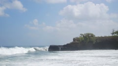 Sea waves running towards coast with white foam,at Bali Island.Indonesia.12s Stock Footage