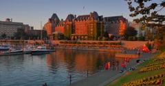 4K Time-lapse Sunset Reflection, Empress Hotel, Victoria BC Stock Footage
