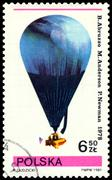 vintage postage stamp.  air-balloon. b. arbuzzo, m. anderson, p. newman. - stock photo