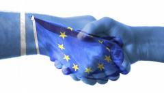 European union flag with handshake Stock Footage