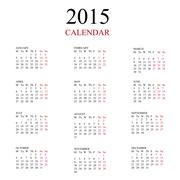 Simple european 2015 year vector calendar Stock Illustration