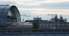 UHD 4K Airplane Landing Bus Passing ICE Intercity Train Departing Cars Berlin - stock footage