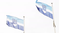 Latvian flag and emblem of Jurmala Stock Footage