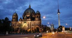 UltraHD 4K Illuminated Evening Lit Berlin Cathedral TV Tower Traffic Jam People Stock Footage
