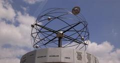 Ultra HD 4K Berlin World Clock Rotating Alexanderplatz Famous Touristic Site Stock Footage